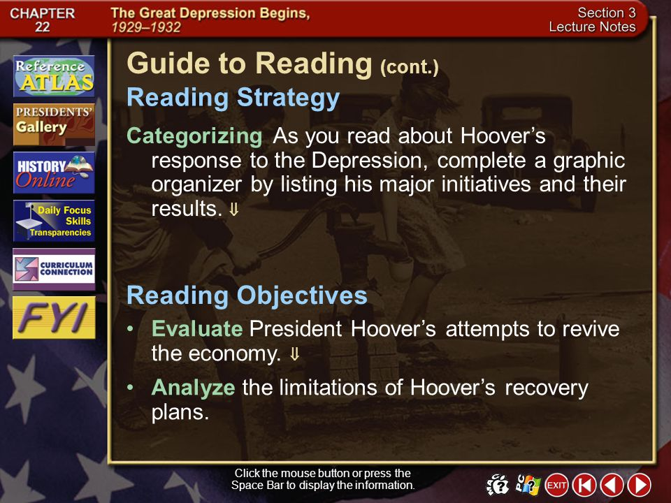 Section 3-1 Click the mouse button or press the Space Bar to display the information. Guide to Reading President Hoovers philosophy of government guid