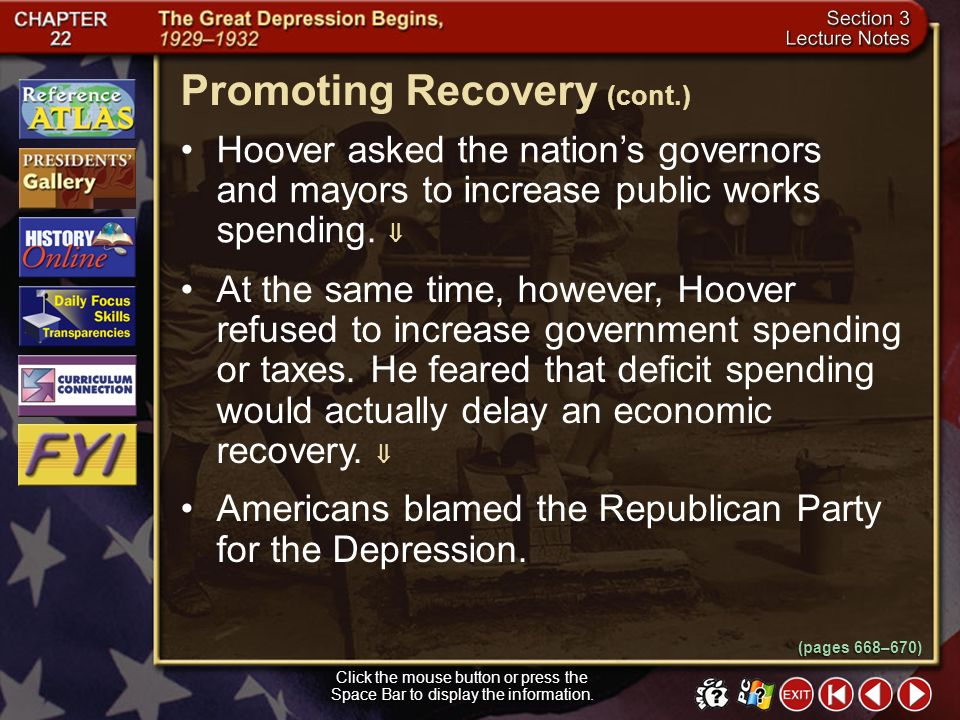 Section 3-5 Promoting Recovery Click the mouse button or press the Space Bar to display the information. In an effort to promote economic recovery, Pr