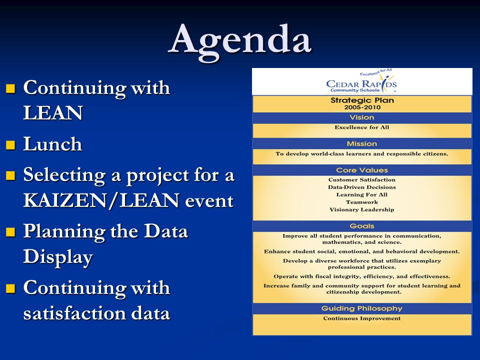 Agenda Continuing with LEAN Continuing with LEAN Lunch Lunch Selecting a project for a KAIZEN/LEAN event Selecting a project for a KAIZEN/LEAN event Planning the Data Display Planning the Data Display Continuing with satisfaction data Continuing with satisfaction data