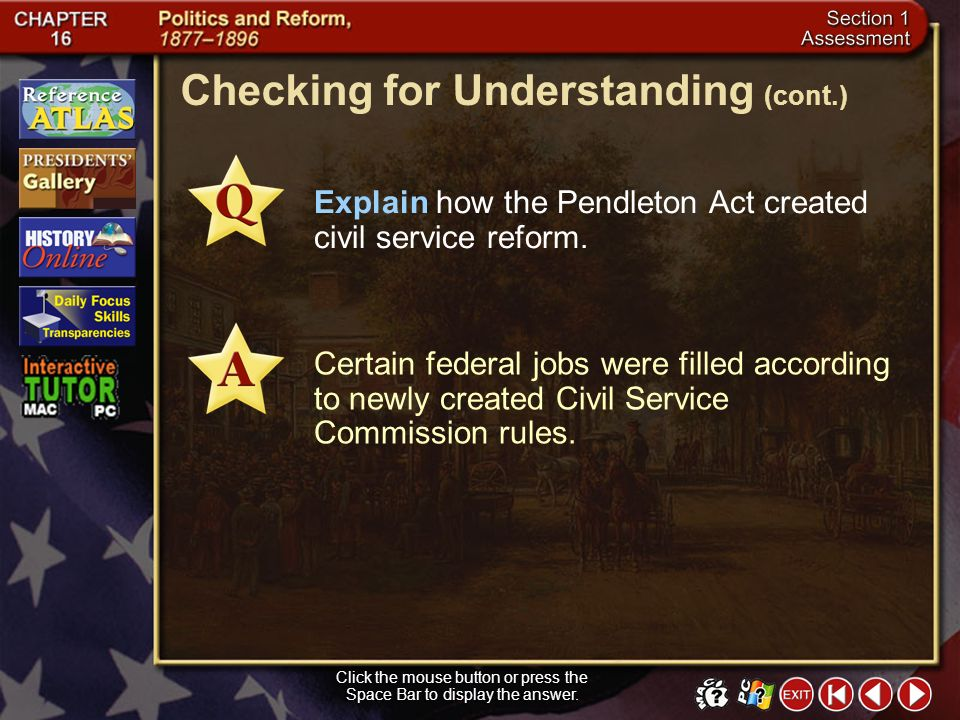 Section 1-27 Checking for Understanding __ 1.a partial refund to lower the rate of a good or commodity __ 2.another name for the spoils system, in whi
