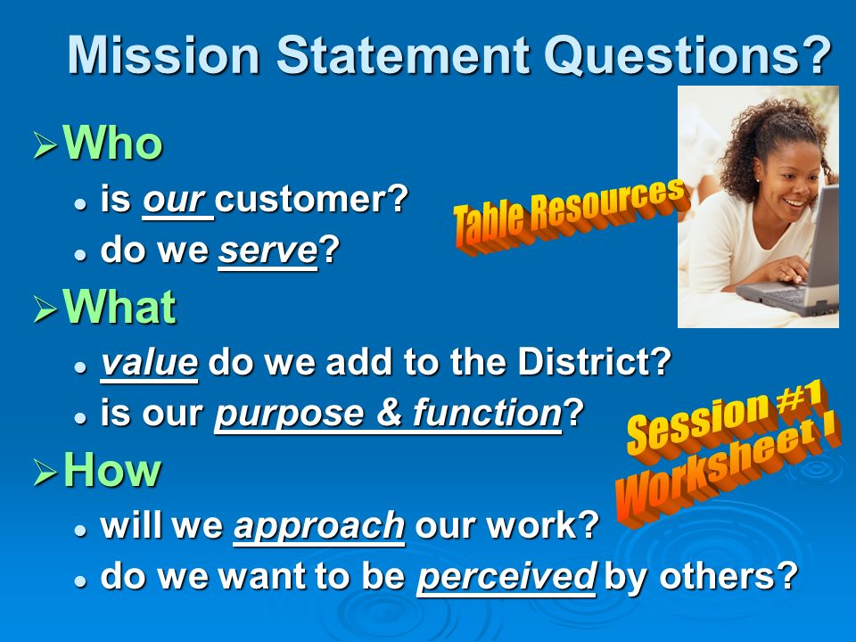 Mission Statement Questions. Who Who is our customer.