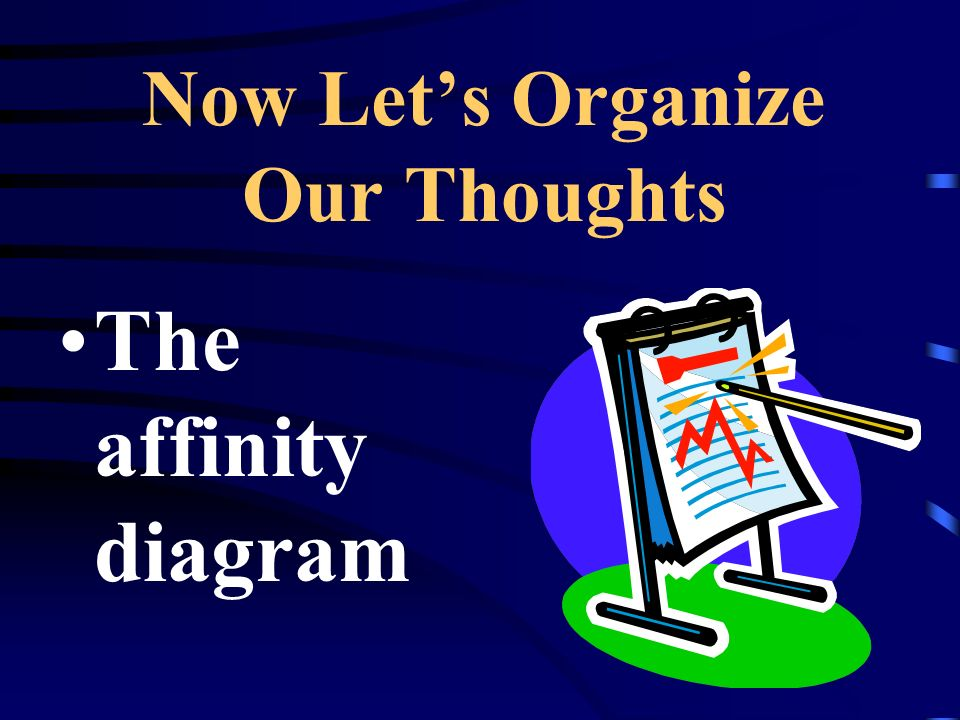 Now Lets Organize Our Thoughts The affinity diagram