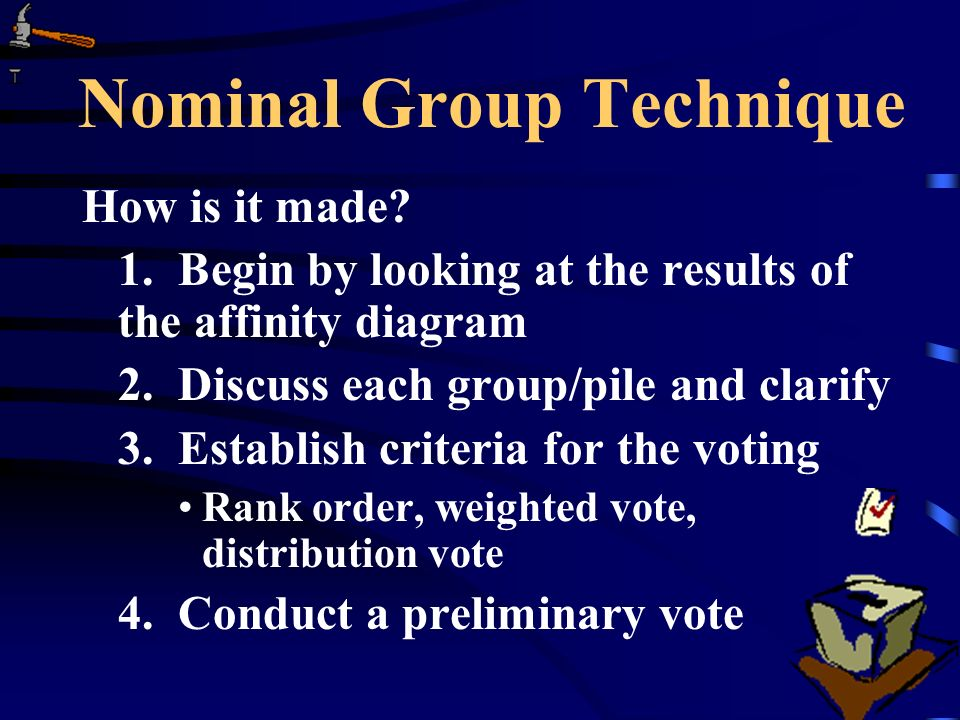 Nominal Group Technique How is it made. 1.