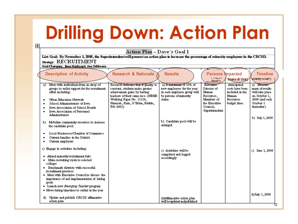 Drilling Down: Action Plan Description of ActivityResearch & RationaleResultsFundingTimelinePersons Impacted