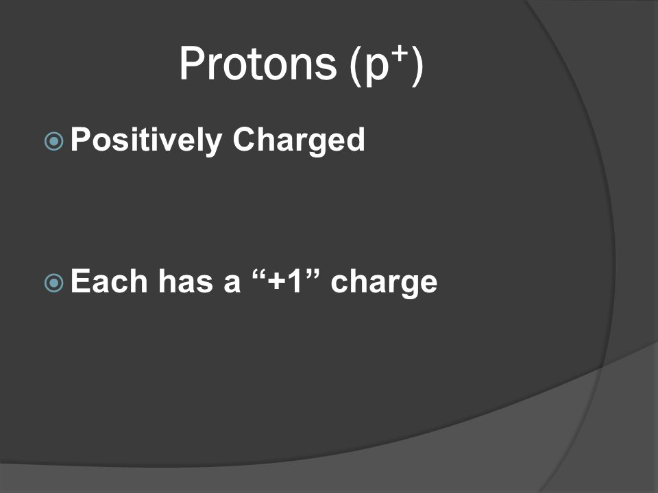 Protons (p + ) Positively Charged Each has a +1 charge