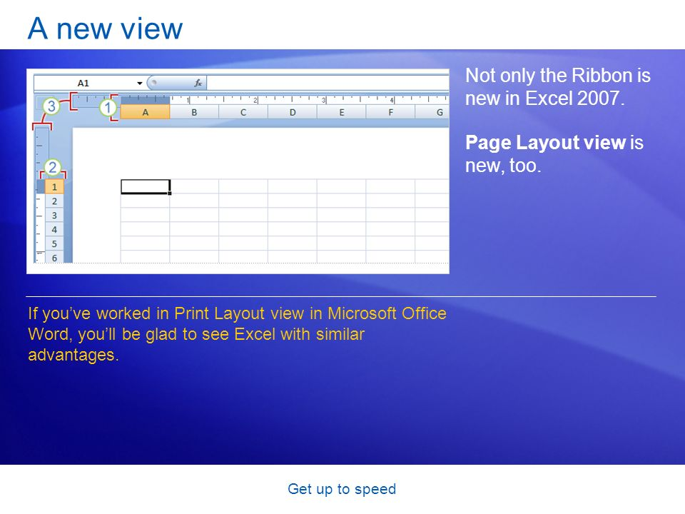 Get up to speed A new view Not only the Ribbon is new in Excel 2007. Page Layout view is new, too. If youve worked in Print Layout view in Microsoft O
