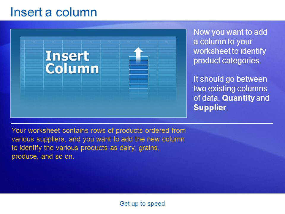 Get up to speed Insert a column Now you want to add a column to your worksheet to identify product categories.