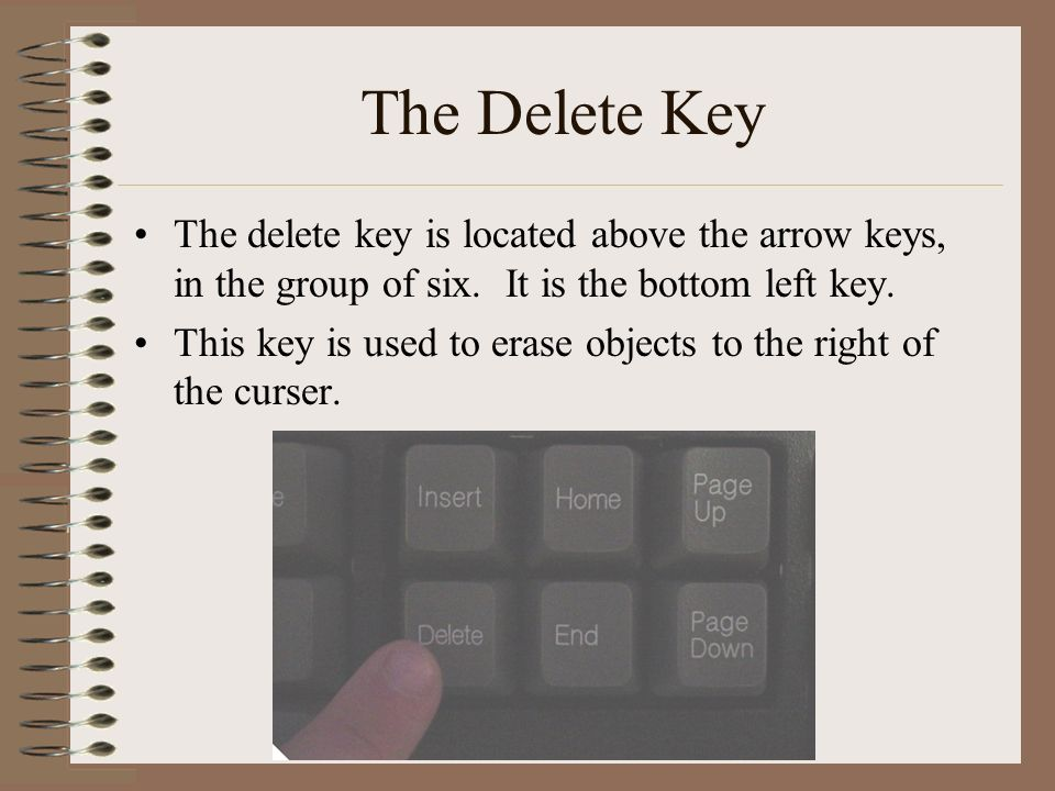 The Delete Key The delete key is located above the arrow keys, in the group of six.