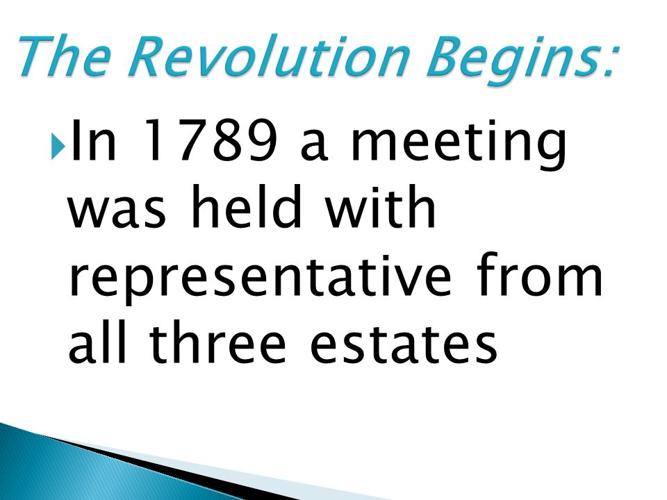 In 1789 a meeting was held with representative from all three estates