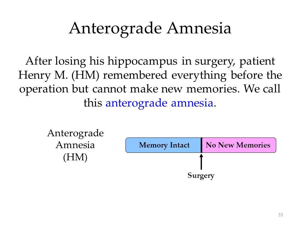 33 No New Memories Anterograde Amnesia Anterograde Amnesia (HM) Surgery After losing his hippocampus in surgery, patient Henry M. (HM) remembered ever