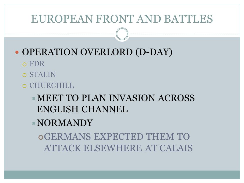 EUROPEAN FRONT AND BATTLES OPERATION OVERLORD (D-DAY) FDR STALIN CHURCHILL MEET TO PLAN INVASION ACROSS ENGLISH CHANNEL NORMANDY GERMANS EXPECTED THEM