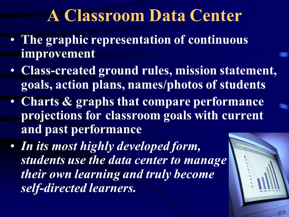 A Classroom Data Center The graphic representation of continuous improvement Class-created ground rules, mission statement, goals, action plans, names/photos of students Charts & graphs that compare performance projections for classroom goals with current and past performance In its most highly developed form, students use the data center to manage their own learning and truly become self-directed learners.