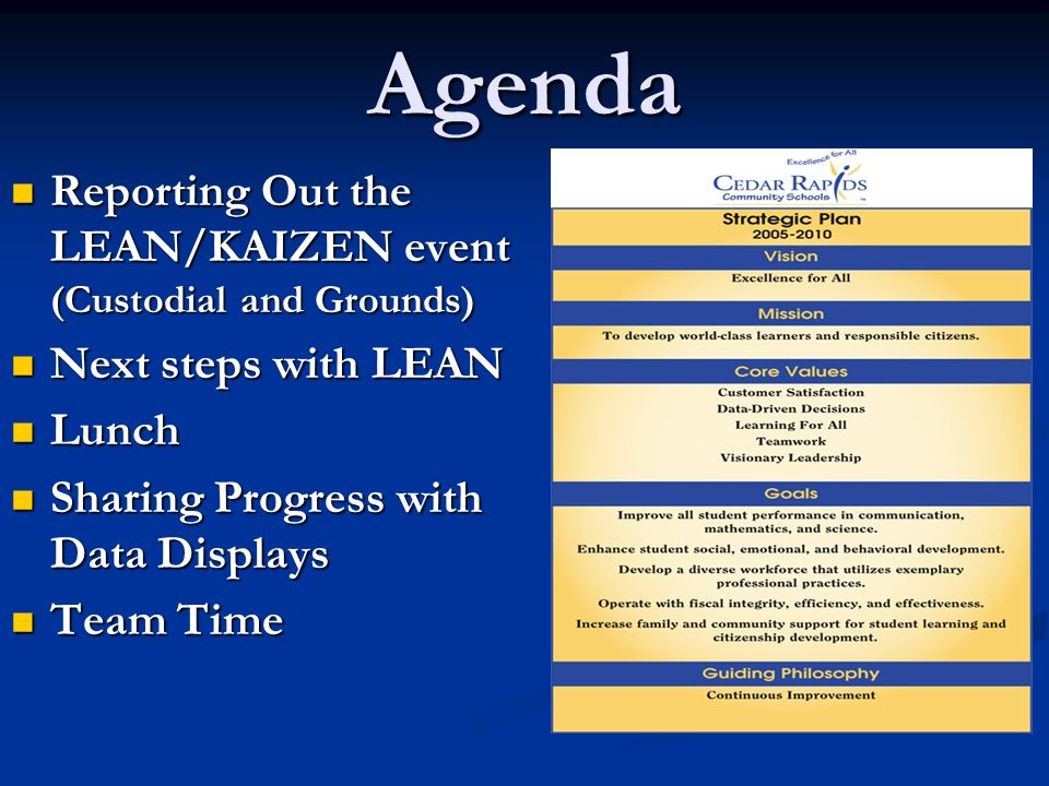 Agenda Reporting Out the LEAN/KAIZEN event (Custodial and Grounds) Reporting Out the LEAN/KAIZEN event (Custodial and Grounds) Next steps with LEAN Next steps with LEAN Lunch Lunch Sharing Progress with Data Displays Sharing Progress with Data Displays Team Time Team Time