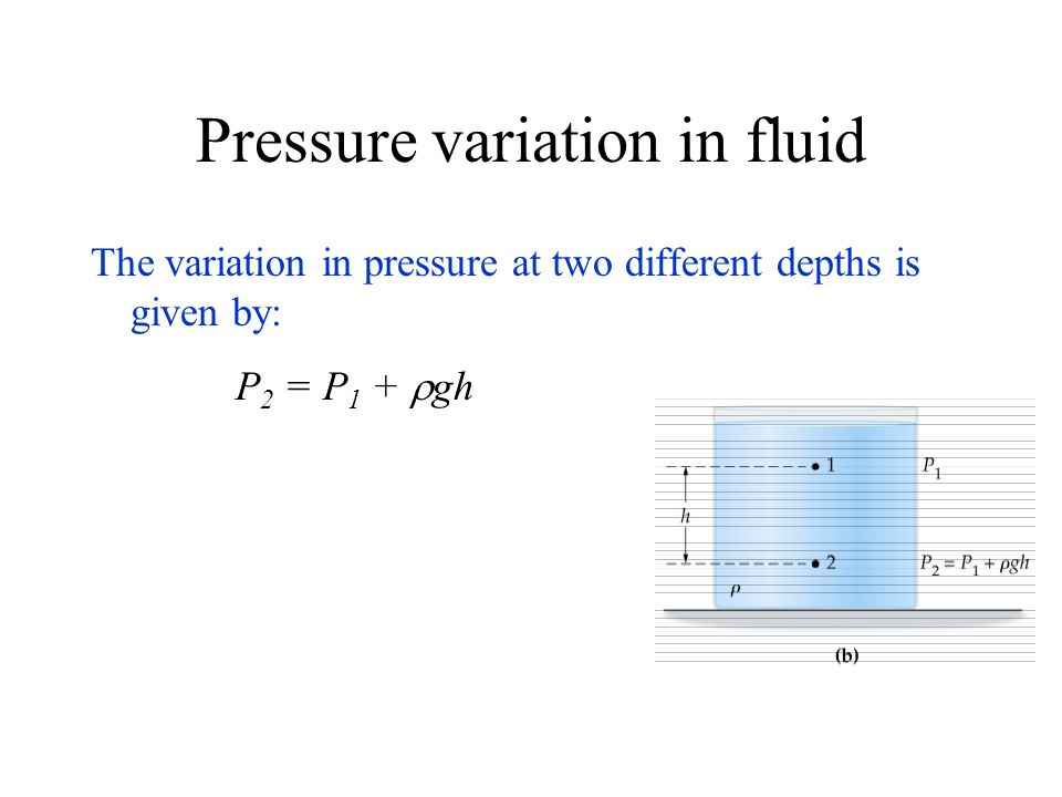 Pressure variation in fluid The variation in pressure at two different depths is given by: P 2 = P 1 + gh
