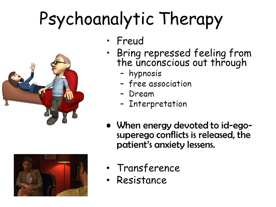 Psychoanalytic Therapy Freud Bring repressed feeling from the unconscious out through –hypnosis –free association –Dream –Interpretation When energy d