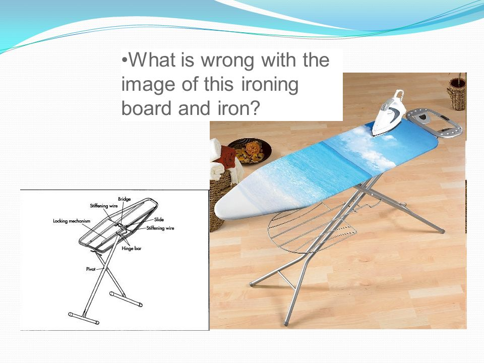 What is wrong with the image of this ironing board and iron?