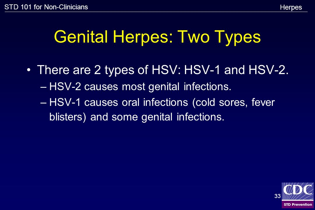 STD 101 for Non-Clinicians 33 Genital Herpes: Two Types There are 2 types of HSV: HSV-1 and HSV-2. –HSV-2 causes most genital infections. –HSV-1 cause