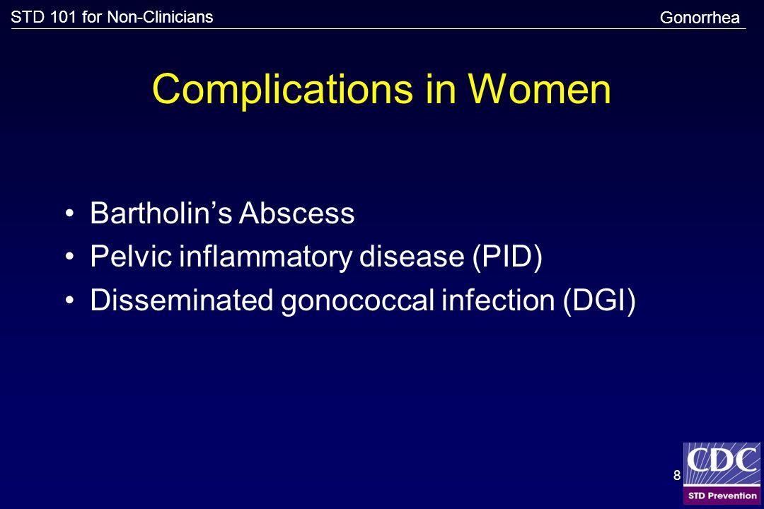 STD 101 for Non-Clinicians 9 Pelvic Inflammatory Disease (PID) Source: Cincinnati STD/HIV Prevention Training Center Gonorrhea