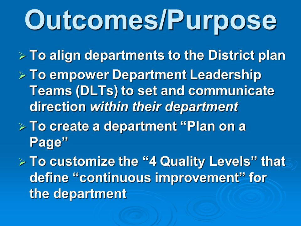 Outcomes/Purpose To align departments to the District plan To align departments to the District plan To empower Department Leadership Teams (DLTs) to set and communicate direction within their department To empower Department Leadership Teams (DLTs) to set and communicate direction within their department To create a department Plan on a Page To create a department Plan on a Page To customize the 4 Quality Levels that define continuous improvement for the department To customize the 4 Quality Levels that define continuous improvement for the department