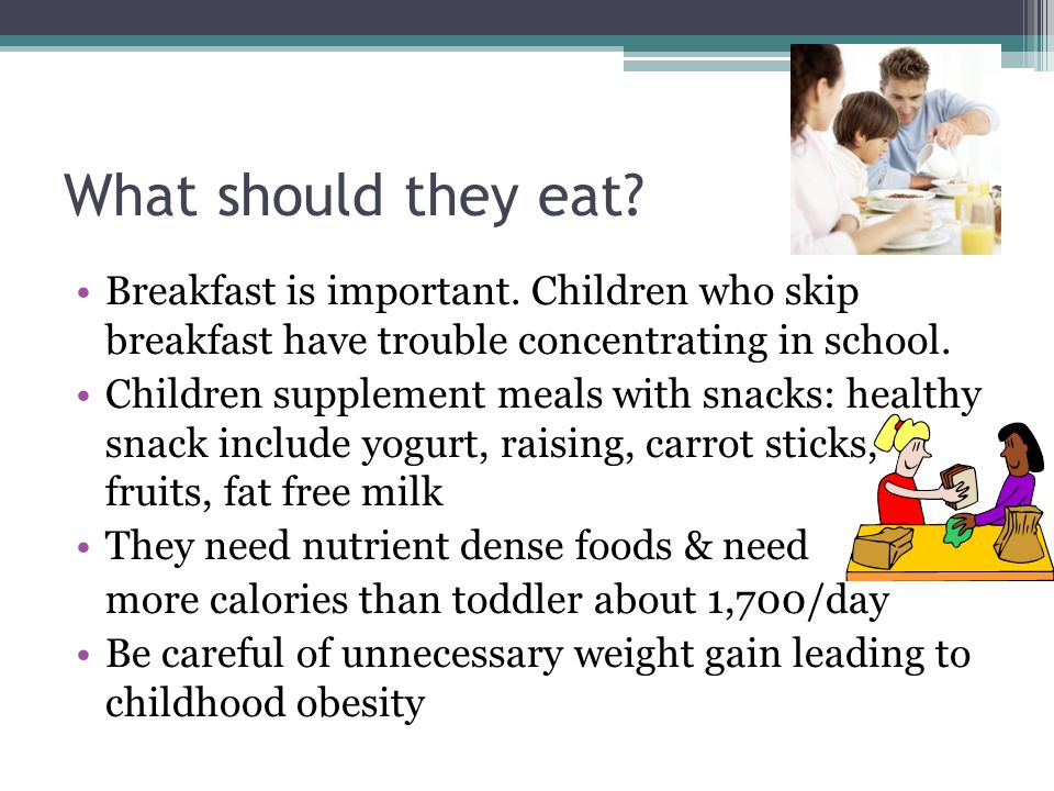 What should they eat? Breakfast is important. Children who skip breakfast have trouble concentrating in school. Children supplement meals with snacks: