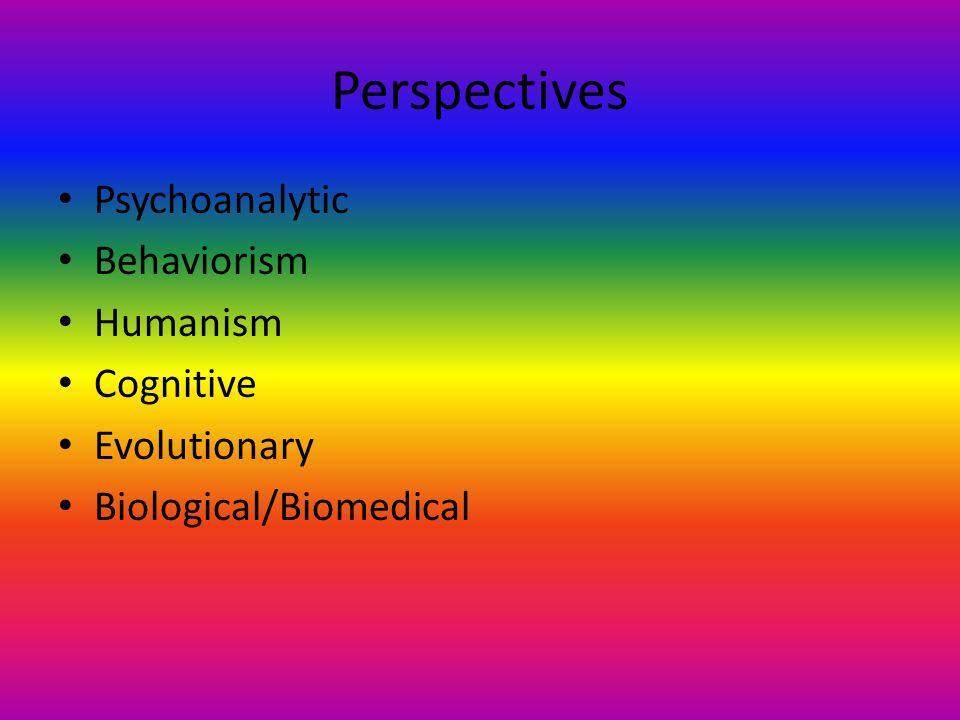 Perspectives Psychoanalytic Behaviorism Humanism Cognitive Evolutionary Biological/Biomedical