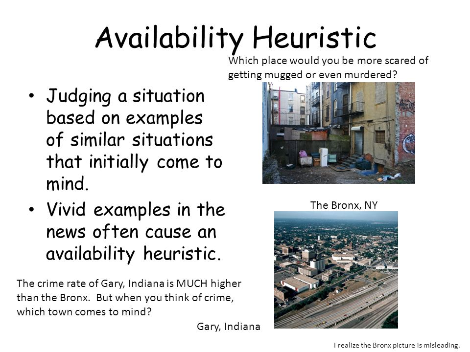 Availability Heuristic Judging a situation based on examples of similar situations that initially come to mind. Vivid examples in the news often cause