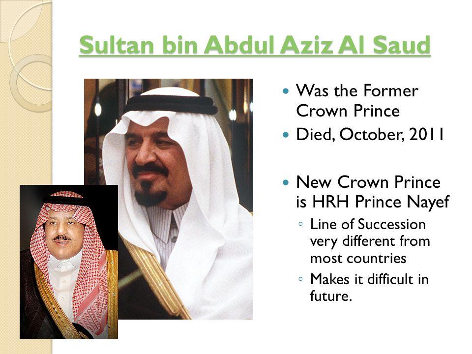 Sons of Abdul Aziz ibn Sa ud Bandar bin Abdul Aziz (1923-) Bandar bin Abdul Aziz Musa id bin Abdul Aziz (1923-) Musa id bin Abdul Aziz Mishaal bin Abdul Aziz (1926-) Mishaal bin Abdul Aziz Crown Prince Sultan bin Abdul-Aziz (1926-) Crown Prince Sultan bin Abdul-Aziz Abd al-Rahman bin Abdul Aziz (1931-) Abd al-Rahman bin Abdul Aziz Mutaib bin Abdul Aziz (1931-) Mutaib bin Abdul Aziz Talal bin Abdul Aziz (1931-) Talal bin Abdul Aziz Badr bin Abdul Aziz (1933- Badr bin Abdul Aziz Nawwaf bin Abdul Aziz (1933-) Nawwaf bin Abdul Aziz Turki bin Abdul Aziz (1934-).