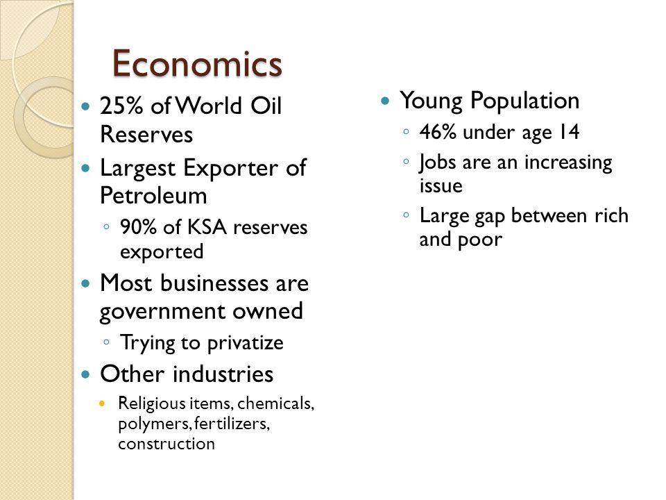 Economics cont. Riyadh – Capital (Left) Jeddah – (Above)