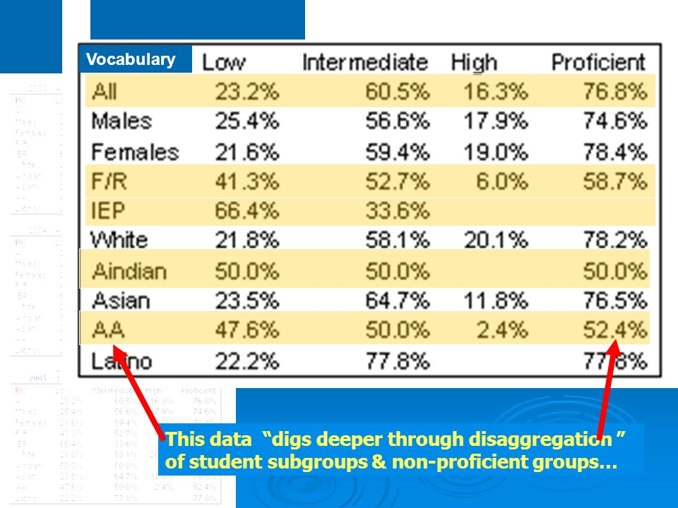 This data digs deeper through disaggregation of student subgroups & non-proficient groups… Vocabulary