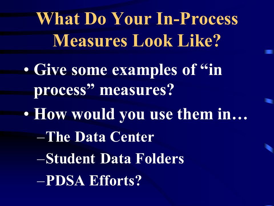 What Do Your In-Process Measures Look Like? Give some examples of in process measures? How would you use them in… –The Data Center –Student Data Folde