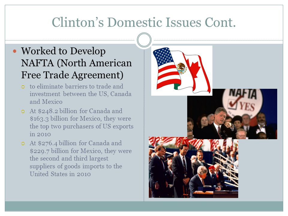 Clintons Domestic Issues Cont. Worked to Develop NAFTA (North American Free Trade Agreement) to eliminate barriers to trade and investment between the