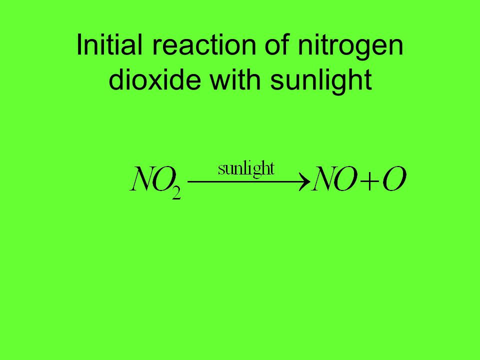 Initial reaction of nitrogen dioxide with sunlight