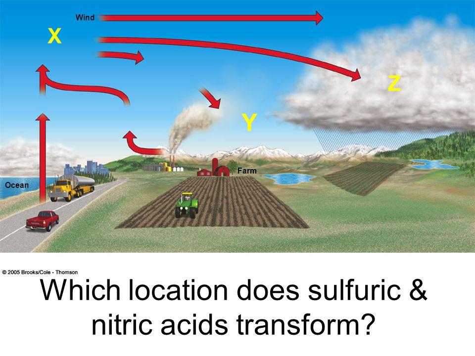 Wind Ocean Farm Which location does sulfuric & nitric acids transform? Y Z X
