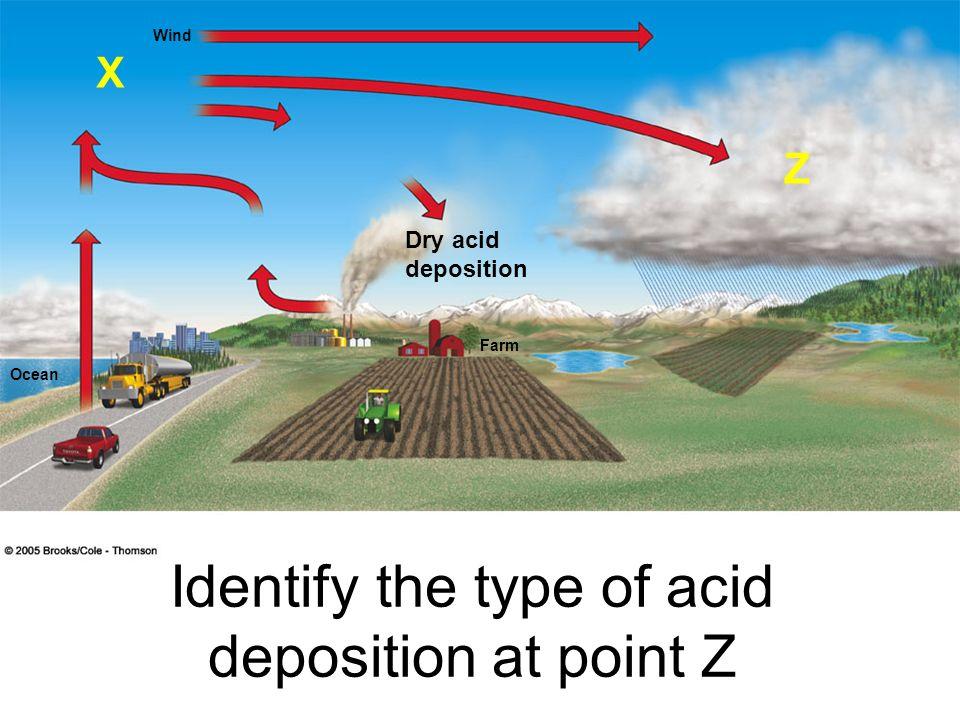 Wind Ocean Farm Identify the type of acid deposition at point Z X Z Dry acid deposition