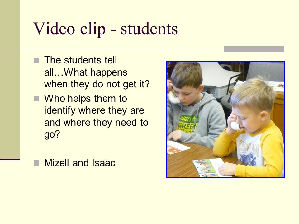 Video clip - students The students tell all…What happens when they do not get it? Who helps them to identify where they are and where they need to go?