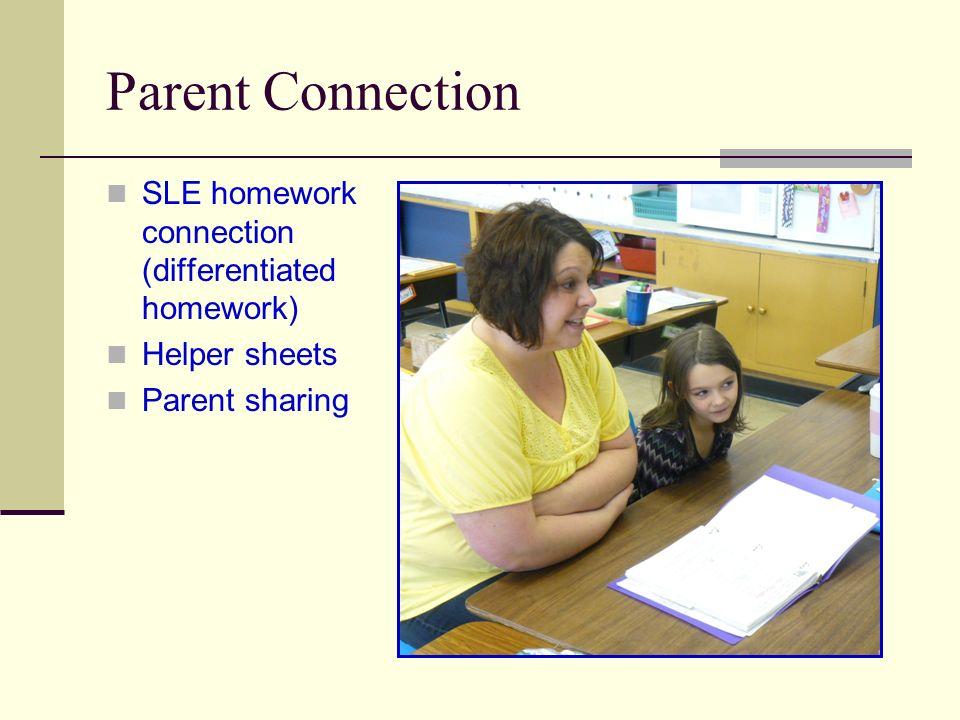 Parent Connection SLE homework connection (differentiated homework) Helper sheets Parent sharing