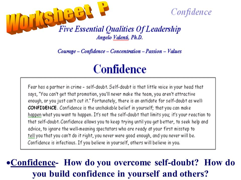 Confidence- How do you overcome self-doubt How do you build confidence in yourself and others