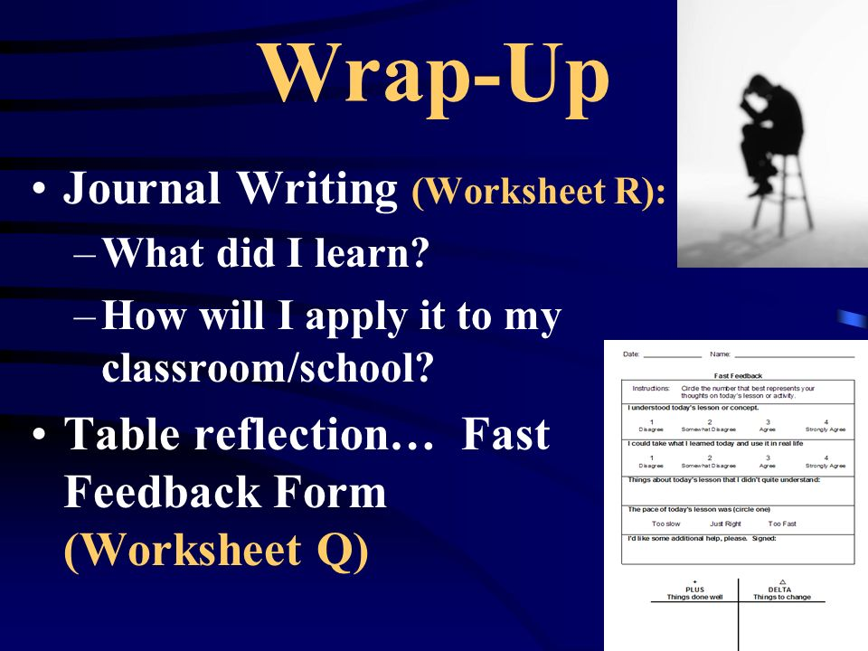 Wrap-Up Journal Writing (Worksheet R): –What did I learn.