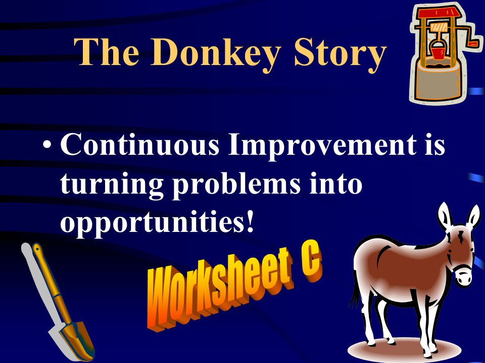 The Donkey Story Continuous Improvement is turning problems into opportunities!