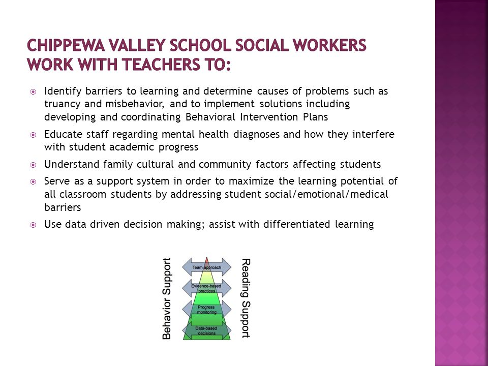 Implement school social work services within a multi-tiered intervention model for programs and services via RtI Evaluate and implement prevention programs and policies in an effort to address external and internal needs that impact school climate and student learning and success Coordinate and implement comprehensive school health and mental health programs Provide support to facilitate successful transitions in areas that affect students learning opportunities, including post high school Provide crisis prevention, planning, and intervention services, including assessments of the impact of trauma on development, learning, and school performance Serve on School Improvement committees and implement School Improvement Plans and NCA goals