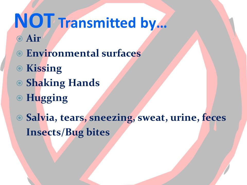 NOT Transmitted by… Air Environmental surfaces Kissing Shaking Hands Hugging Salvia, tears, sneezing, sweat, urine, feces Insects/Bug bites