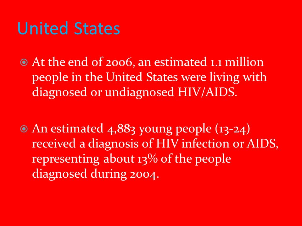United States At the end of 2006, an estimated 1.1 million people in the United States were living with diagnosed or undiagnosed HIV/AIDS.