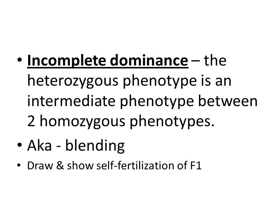 Incomplete dominance – the heterozygous phenotype is an intermediate phenotype between 2 homozygous phenotypes.