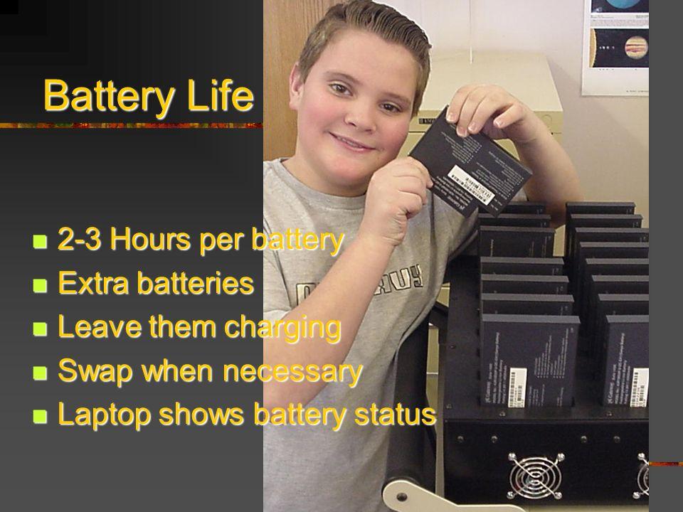 2-3 Hours per battery 2-3 Hours per battery Extra batteries Extra batteries Leave them charging Leave them charging Swap when necessary Swap when necessary Laptop shows battery status Laptop shows battery status