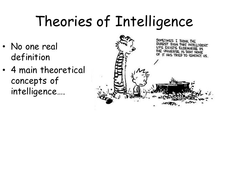 Theories of Intelligence No one real definition 4 main theoretical concepts of intelligence….