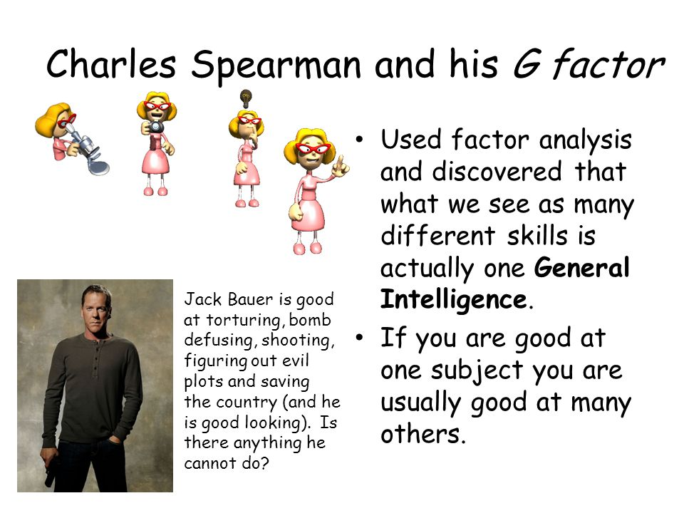 Charles Spearman and his G factor Used factor analysis and discovered that what we see as many different skills is actually one General Intelligence.