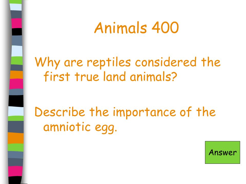 Animals 400 Why are reptiles considered the first true land animals? Describe the importance of the amniotic egg. Answer
