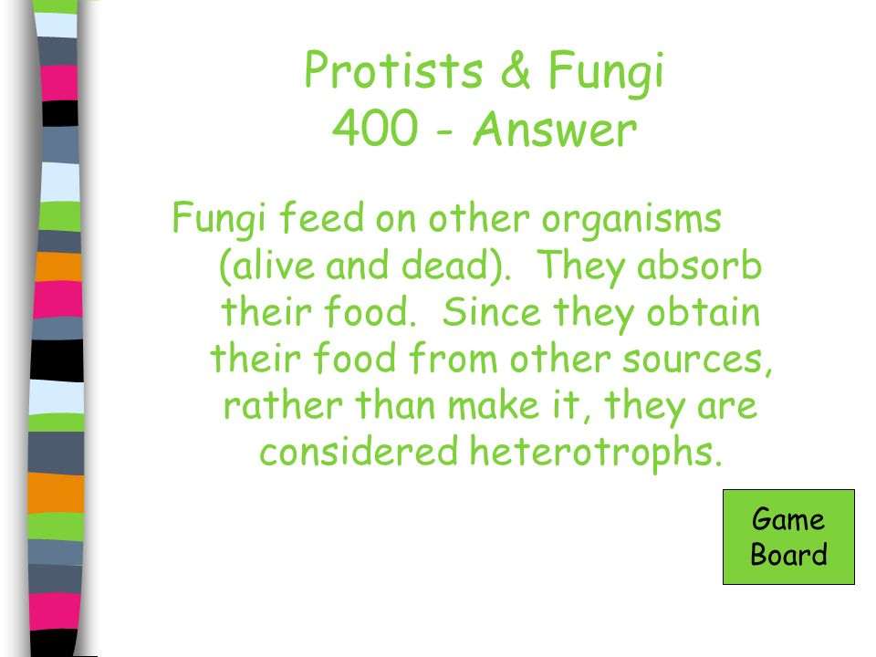 Protists & Fungi 400 - Answer Fungi feed on other organisms (alive and dead). They absorb their food. Since they obtain their food from other sources,