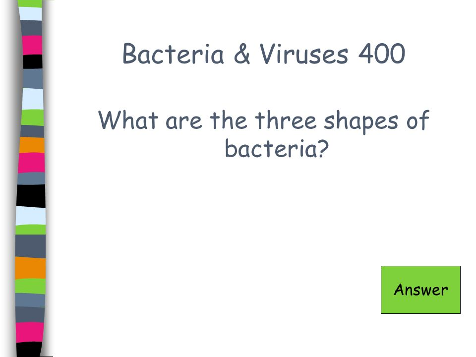 Bacteria & Viruses 400 What are the three shapes of bacteria? Answer