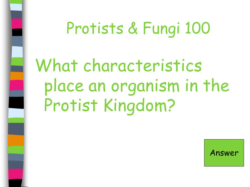 Protists & Fungi 100 What characteristics place an organism in the Protist Kingdom? Answer